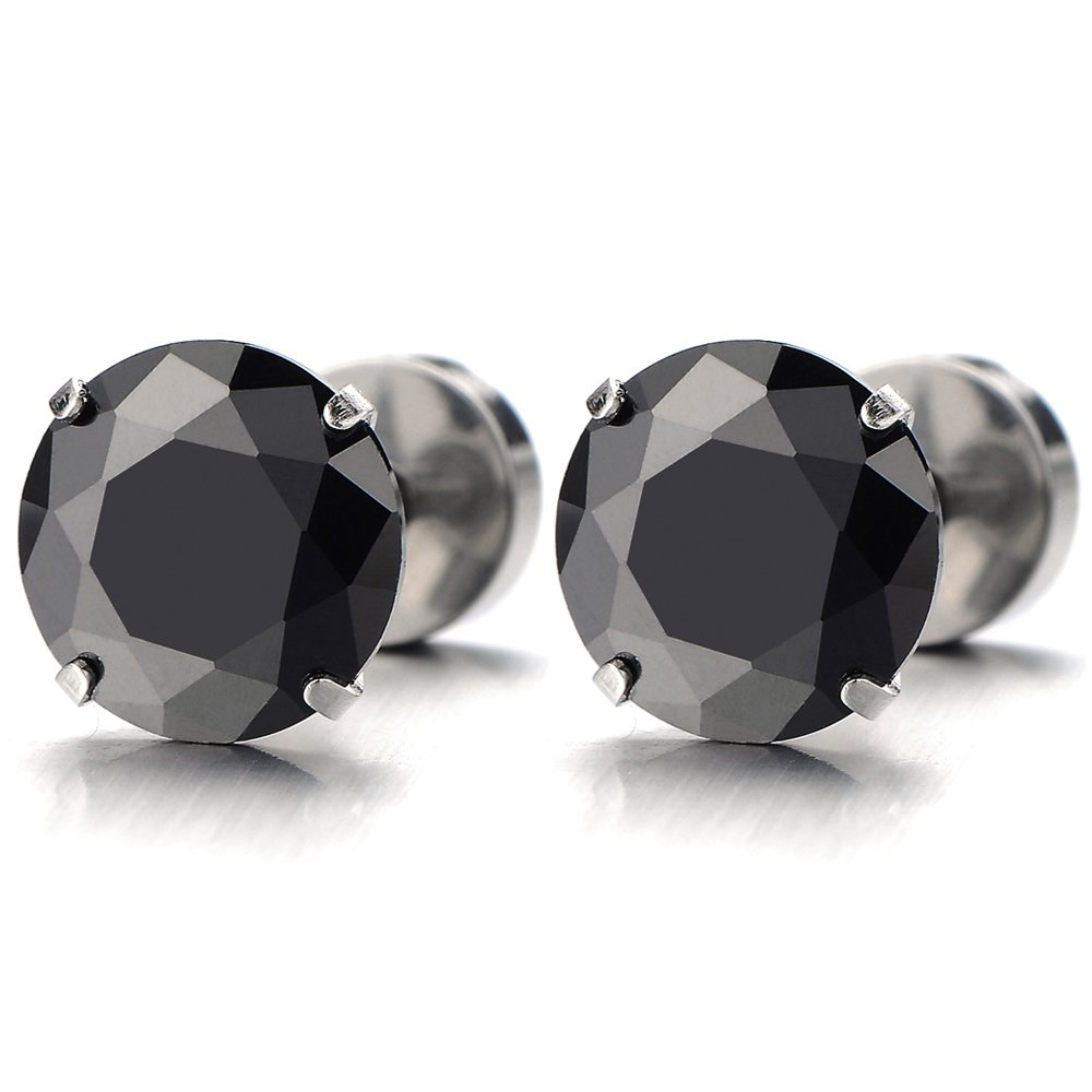 1 Pair Mens Black Cubic Zirconia Stud Earrings Stainless Steel Screw Back Post COOLSTEELANDBEYOND ME-07-03