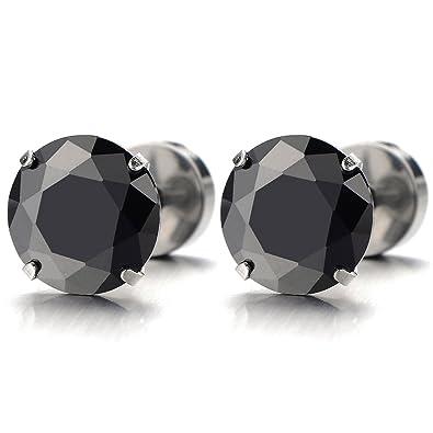 Boucle d'oreille homme or diamant noir