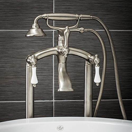 White Nickel Porcelain - Luxury Clawfoot Tub or Freestanding Tub Filler Faucet, Vintage Design with Telephone Style Hand Shower, Floor Mount Installation, Porcelain Handles, Brushed Nickel Finish