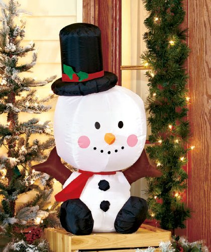 Holiday Christmas Indoor Outdoor Self-inflating Snowman Inflatable w/ Large Head