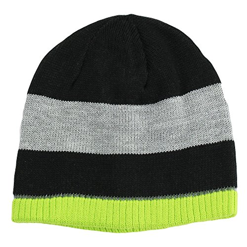 Nolan Boys Striped Beanie Hat Reversible Winter Hat Black / Lime Size 4-14 (Knit Winter Reversible Hat)