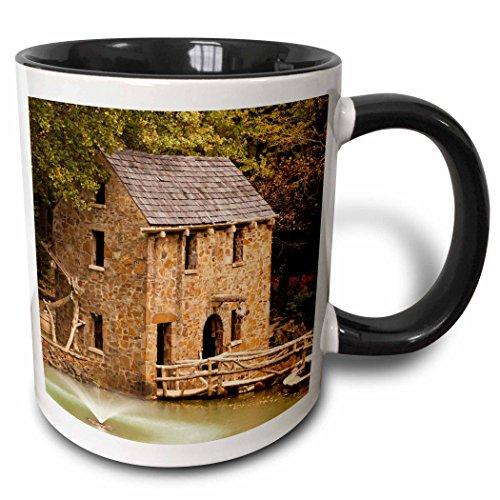 3dRose Danita Delimont - Walter Bibikow - Mills - USA, Arkansas, North Little Rock, The Old Mill. - 15oz Two-Tone Black Mug (mug_192182_9)