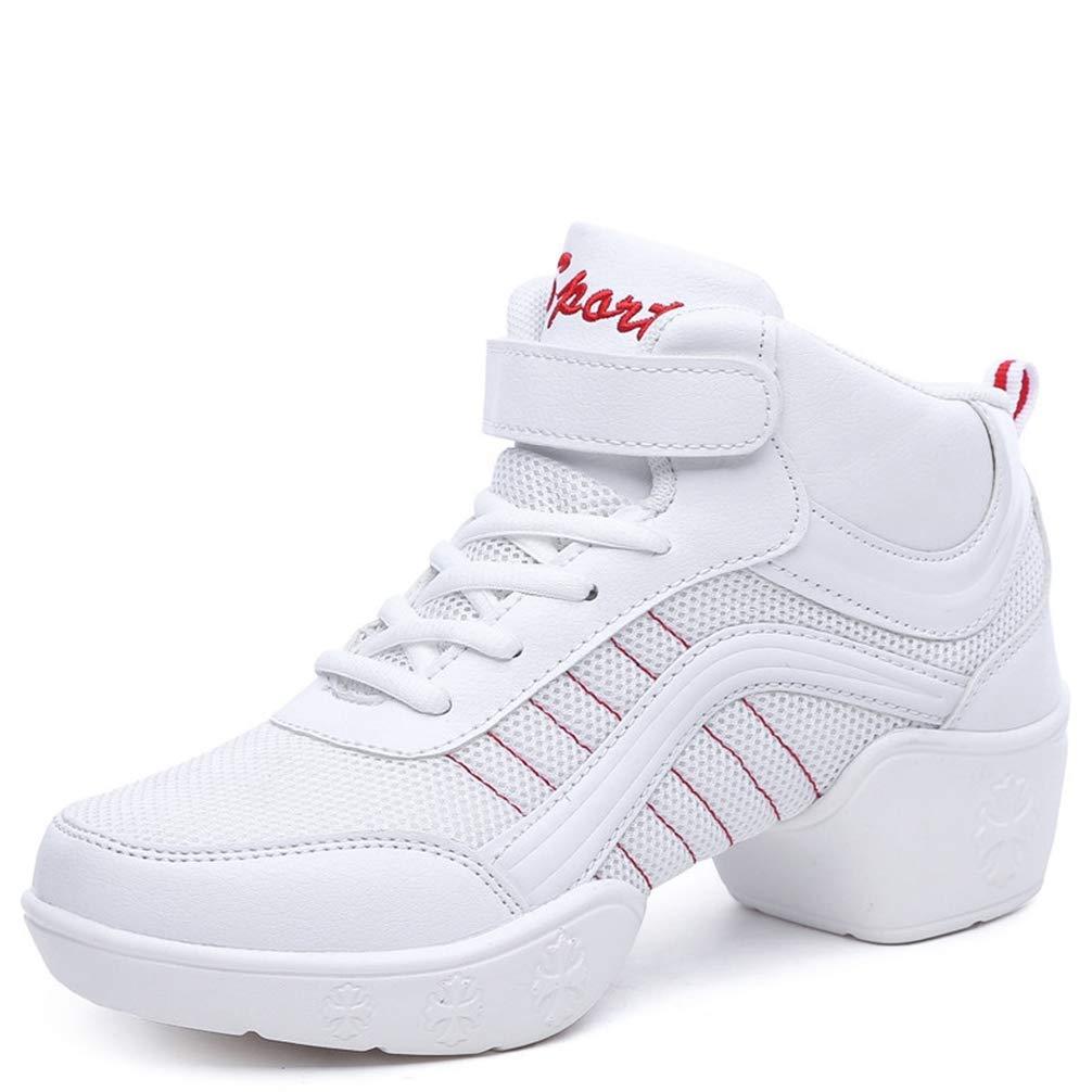 White Gcanwea Women Casual Air Cushion Wedge Dance shoes Female Air Mesh Breathable Hook Loop Sneakers White 7 M US