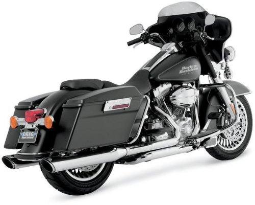 Vance & Hines 16763 Twin Slash 4 Rounds Chrome Slip On Mufflers For Harley-Davidson Touring 1995-2016 Bikes