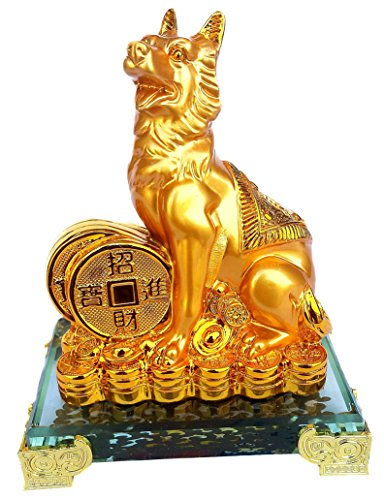 Feng Shui 2018 Zodiac Dog With Coins Statue Figurine Decoration for Wealth Luck ( With Betterdecor Logo Bag) (Chinese Feng Shui)