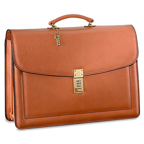 - Jack Georges [Personalized Initials Embossing] Belting Triple Gusset Leather Briefcase w/Combination Lock in Tan