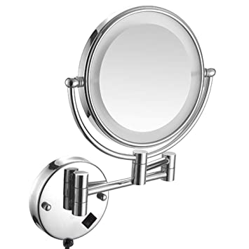 Amazon Com Gecious 10x Wall Mounted Lighted Mirror Led 8 Inches Wall Makeup Mirror Double Sided 10x Magnifying Mirror Bathroom 12 Extension Chrome Kitchen Dining