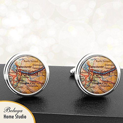 Portland OR Antique Map Cufflinks Handmade USA City Cuff Links State of - Usa Or Portland