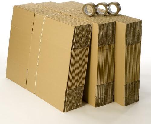 Conjunto de 60 cajas para mudanza con 3 rollos de cinta adhesiva de regalo: Amazon.es: Oficina y papelería