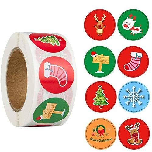 Feliz Navidad pegatinas rollo, 500Pcs Etiqueta Adhesiva Pegatinas ...