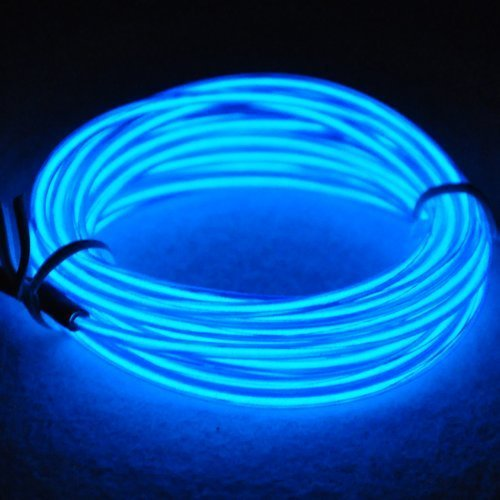RioRand Neon Glowing Strobing Electroluminescent Light El Wire with Battery Pack for Parties, Halloween Decoration 15ft (Blue)]()