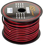 GS Power's 16 Ga Gauge 100 feet CCA Copper Clad Aluminum Red / Black 2 Conductor Bonded Zip Cord Power / Speaker Cable for Car Audio Radio, Amplifier Remote, Home Theater, LED strip Light Wiring