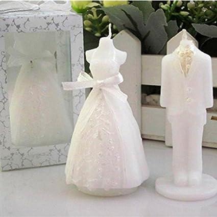 A menudo 1 par con novio novia boda Vela velas para Wedding, blanco