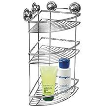 Tatkraft Spring Bathroom Corner Rack 3 Shelves 4 Vacuum Suction Cups 30.5X22X51.5 cm