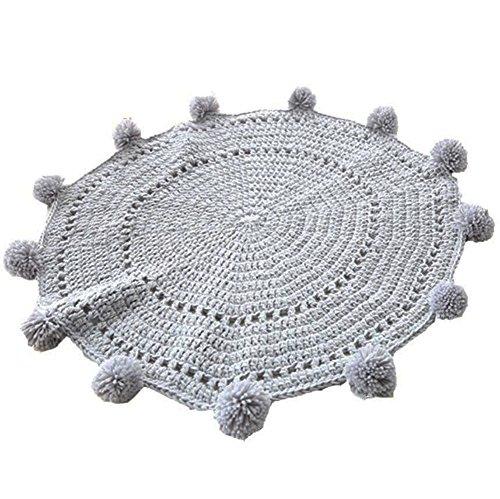 (LAGHCAT Pom Pom Playmat Handmade Rugs for Baby in Fun Designs Crochet Blanket Kids' Room Decorate Carpets - Grey, 31.5x31.5inch )