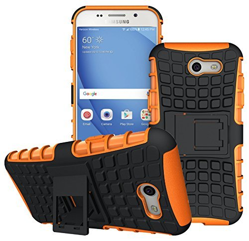 For Samsung Galaxy J3 Emerge Case, J3 Prime / J3 Mission / J3 Eclipse / J3 2017 / J3 Luna Pro / Sol 2 / Amp Prime 2 / Express Prime 2 Case, KMISS Hybrid Heavy Duty Armor Case with Kickstand (Orange)