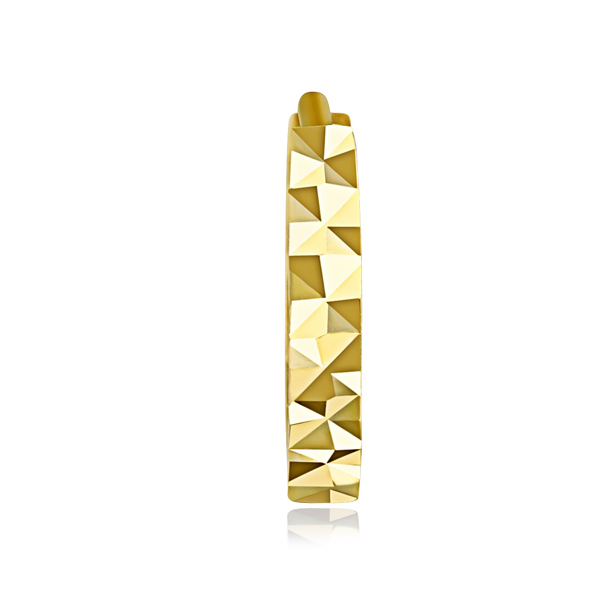 11 x 11 mm 14k Yellow OR White Gold 2mm Thickness Multifaceted Huggie Earrings