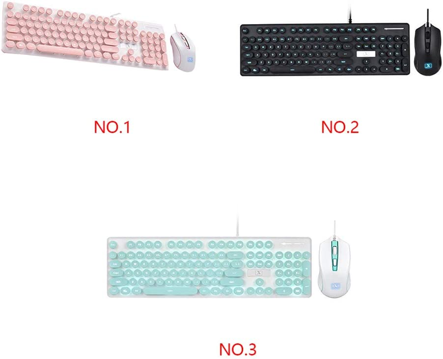 Wired Keyboard Pink Ladies Keyboard Mouse//Business Keyboard//Robotic Keyboard and Mouse Set // 104 Round Key Keyboard Cover//for Laptop ,Pink