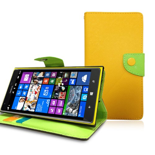 JKase(TM) GELLO Series PU Leather Wallet Cover Case with Credit / Business Card Holder For Nokia Lumia 1520 - Retail Packaging (Yellow/Green)