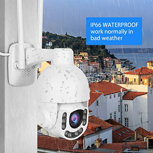 5MP PTZ WiFi Camera Outdoor, Super HD IP Camera, 5X Zoom Security Camera, 200ft Night Vision, 2-Way Audio, Motion Detection Alarm, IP66 Waterproof, Support ONVIF, 128G SD Card Slot, Auto-Tracking