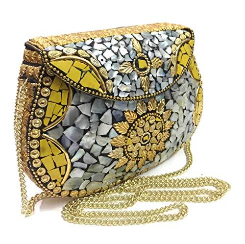 Purple Sling Bag Indian Ethnic Clutches for Women Party bag for women Wedding Box Clutch for Women Shell clutch MOP bag Metal purse wallet sling bag bridal bag...
