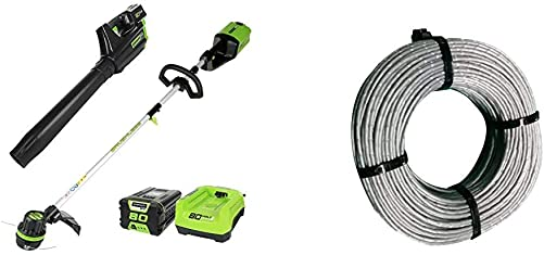 Greenworks PRO 80V Cordless Brushless String Trimmer Leaf Blower Combo, 2Ah Battery and Charger Included STBA80L210 .080-Inch 160-Foot Replacement String Trimmer Line 2906302