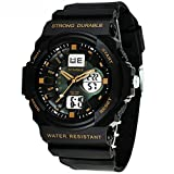 Cool Waterproof Digital Analog Sports Watches For Age 7-15 Years old Boys Girls Youth Black+Gold