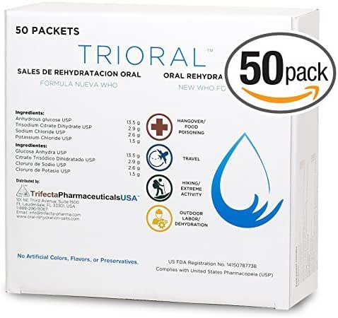 Oral Rehydration Salts ORS (50, One Liter Packets/Box) World Health Organization (WHO) New Formula for Food Poisoning, Hangovers, Diarrhea, Electrolyte Replacement by Trifecta Pharmaceuticals USA