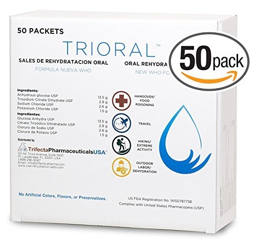 (Oral Rehydration Salts ORS (50, One Liter Packets/Box) World Health Organization (WHO) New Formula for Food Poisoning, Hangovers, Diarrhea, Electrolyte Replacement by Trifecta Pharmaceuticals USA)