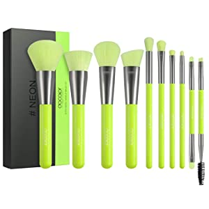 Docolor Makeup Brushes 10 Piece Neon Green Makeup Brush Set Premium Synthetic Kabuki Foundation Blending Face Powder Mineral Eyeshadow Make Up Brushes Set