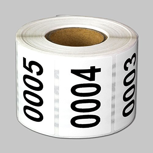 "Consecutive Number Labels Self Adhesive Stickers ""0001 to 0500"" (White Black / 1.5"" x 1"") - 500 labels per package"