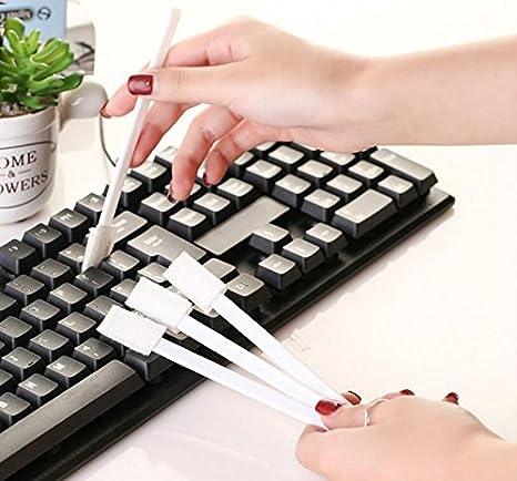 QILEGN - 7 cepillos de limpieza de ranura para teclado de ordenador portátil (color blanco