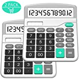 Calculator, Splaks Standard Functional Desktop Calculator Solar and AA Battery Dual Power Electronic Calculator with 12-Digit Large Display (2 Silver Calculator with Root Keys)