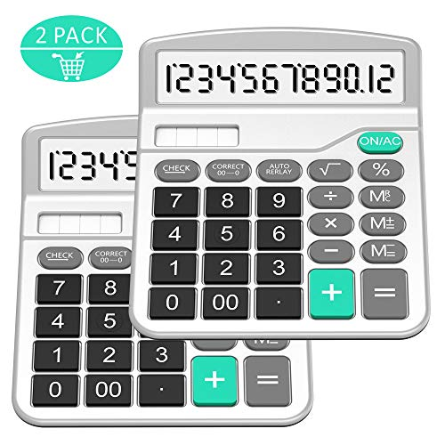Calculator, Splaks Standard Functional Desktop Calculator Solar and AA Battery Dual Power Electronic Calculator with 12-Digit Large Display (2 Silver Calculator with Root Keys) by Splaks
