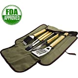 ZOCIKO BBQ Tools Grill Set, BBQ Accessories 5-Piece Heavy Duty Stainless Steel Barbecue Grilling Utensils with Solid Hard Wood Handles, Premium Complete Outdoor Camping Barbecue Grilling Accessories