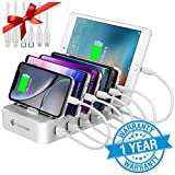 Charging Station for Multiple Devices - 6 Smart Charging Ports Docking Organizer - Compatible with iPhone iPad and Android Cell Phone and Tablet (6...