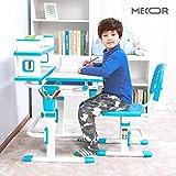 Mecor Kids Desk and Chair Set w/Bookshelf,Child Student School Desk Height Adjustable Children Sturdy Table Wood Grain Surface Tiltable Tabletop/Sliding Drawer Storage Blue