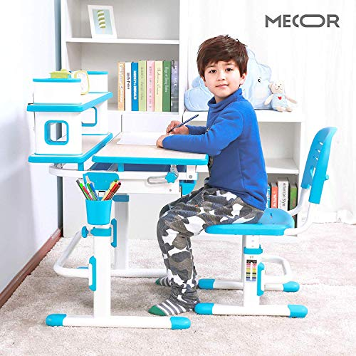 - Mecor Kids Desk and Chair Set w/Bookshelf,Child Student School Desk Height Adjustable Children Sturdy Table Wood Grain Surface Tiltable Tabletop/Sliding Drawer Storage Blue