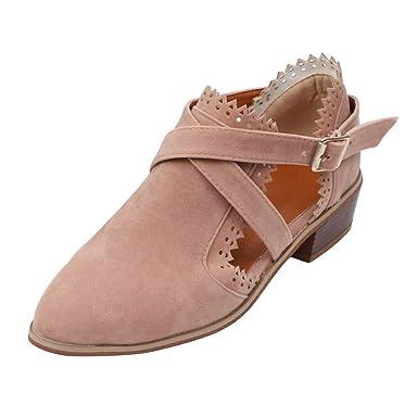 Femmes Chaussures à Bout Pointu Couleur Pure Bottillons Boucle ...