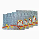 Forest Animal Kids Plastic Washable Place Mats Owl - Set of 4