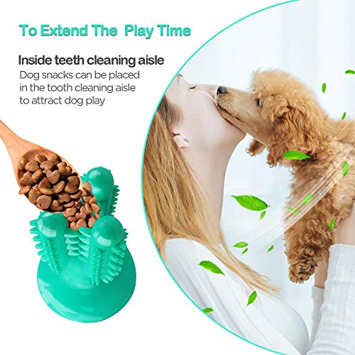 Bigeyescute Dog chew Toothbrush chew Toys Dog Dental Toys Nearly Indestructible Food Grade Puppy Toys,Suction Cup Design,Oral Care for Medium Large Dogs Pets