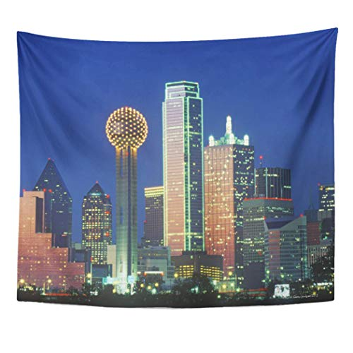Semtomn Tapestry Artwork Wall Hanging Built Dallas Tx Skyline at Night Tower Structure City 50x60 Inches Tapestries Mattress Tablecloth Curtain Home Decor Print]()
