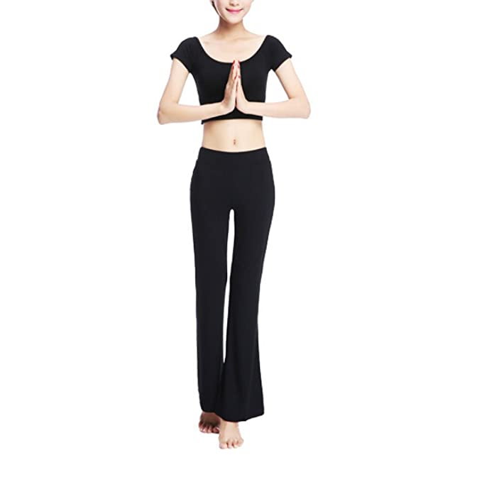 ebd0606ec09bd Yoga Outfits 2 Piece Set Plus Size Tank Top with Built in Bra Fitness Pants  Bootcut
