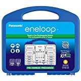 "Panasonic KKJ17MCC82F Eneloop Power Pack, New 2100 Cycle, 8AA, 2AAA, 2 ""C"" Spacers, 2 ""D"" Spacers, ""Advanced"" Individual Battery Charger"