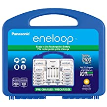 "Panasonic KKJ17MCC82F Eneloop Power Pack, New 2100 Cycle, 8AA, 2AAA, 2""C"" Spacers, 2""D"" Spacers,""Advanced"" Individual Battery Charger"