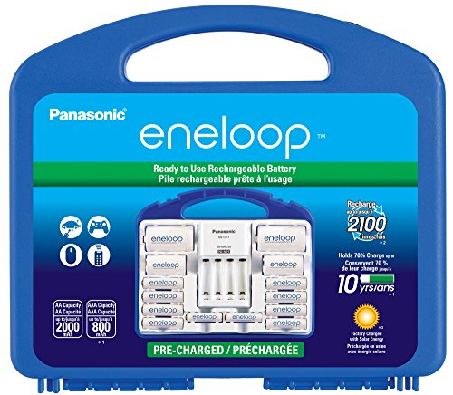 "Panasonic KJ17MCC82A eneloop Power Pack, 8AA, 2AAA, 2 C Adapters, 2 D Adapters, ""Advanced"" Individual Battery Charger and Plastic Storage Case"