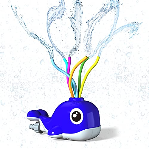 Kiztoys Sprinkler for Kids Outdoor Toy Water Sprinkler Whale Water Toy of Backyard with Wiggle Tubes Spray Splashing Fun for Summer Days Sprays Up to 8ft High