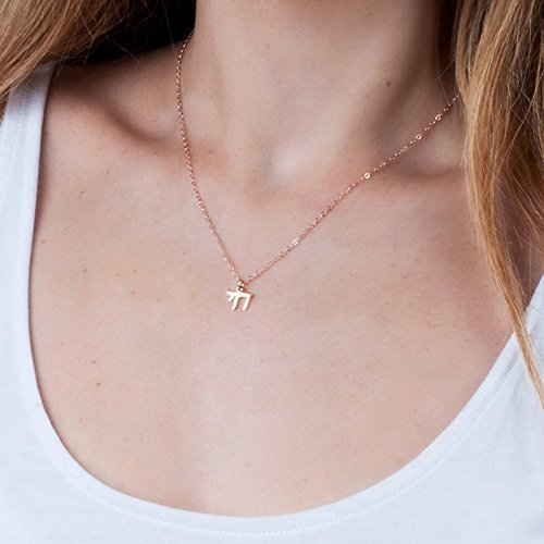 Chai Pendant - Rose Gold Chai Necklace - Designer Handmade Jewish Jewelry Protection Pendant - 16 inch + 2 inch extending chain