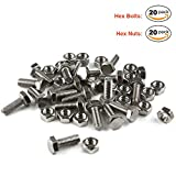 Hex Bolts with Nuts Assortment Kit, Lokman 20 Pack Premium 304 Stainless Steel Hex Bolts with Nuts Fastener Set, Size M6x16mm
