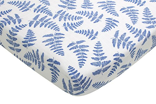 Fitted Organic Cotton Crib Sheet by Margaux & May - Blue Fer